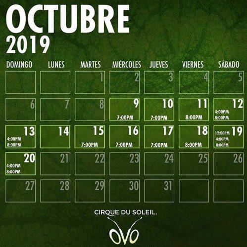 Calendario funciones Circo del Sol