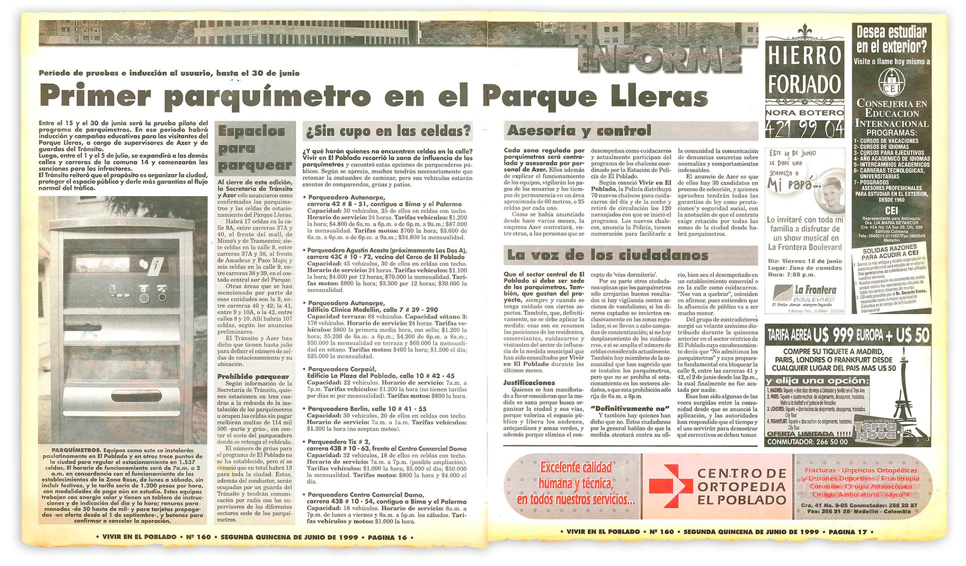 parquímetros en EL Poblado
