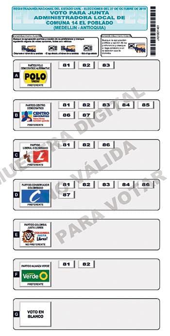 Lista de candidatos a la JAL El Poblado