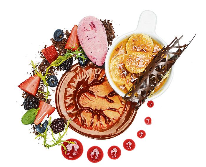 Crème Brûlée de mantequilla de maní con centro de frutos rojos y bananitos caramelizados