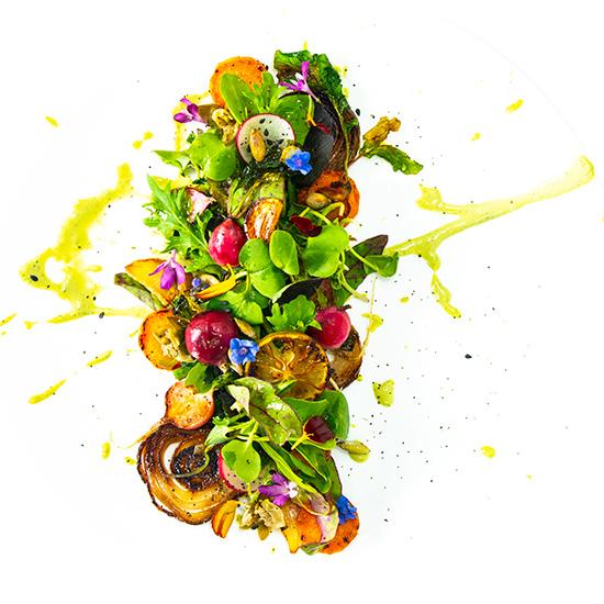 Trío de rábanos en texturas con mayonesa de perejil en base de semillas girasol