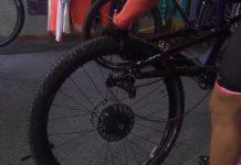 Llanta trasera de la bicicleta