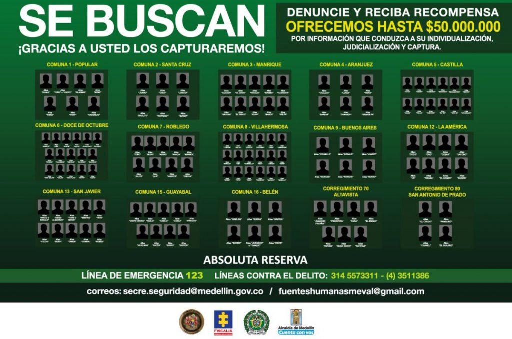 El cartel de los más buscados en Medellín