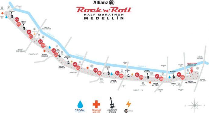 Recorrido de la competencia (Foto Rock and Roll Half Marathon Medellín).