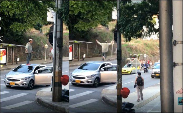 Hombre saltó encima de vehículos